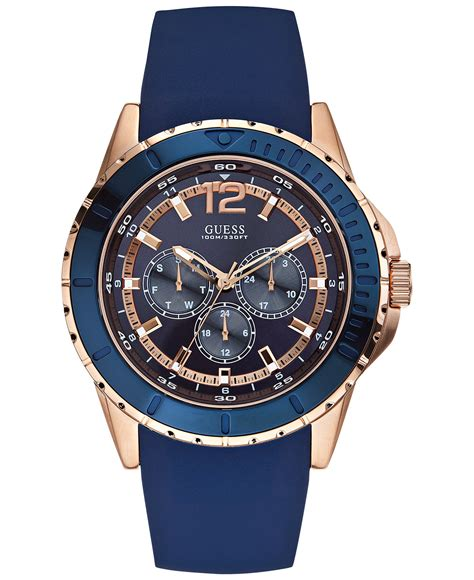 Guess Merica New 1 new guess mens iconic gold blue silicone chrono u0485g1 w0485g1 ebay