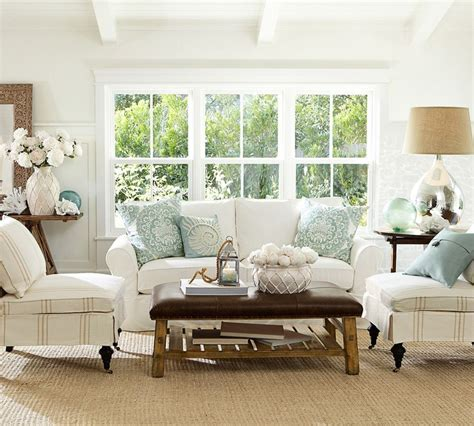 pottery barn style living room coastal style living room decorating tips