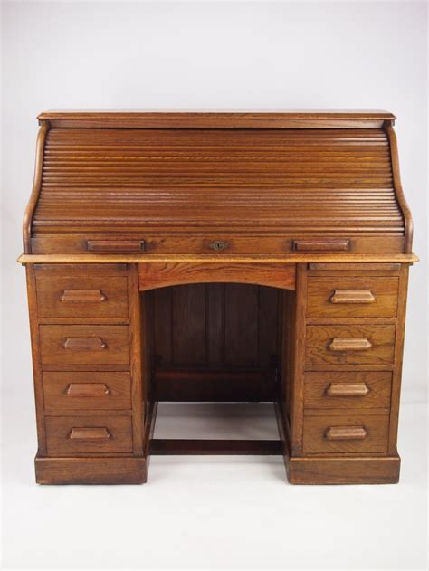 antique oak roll top desk writing bureau 267705