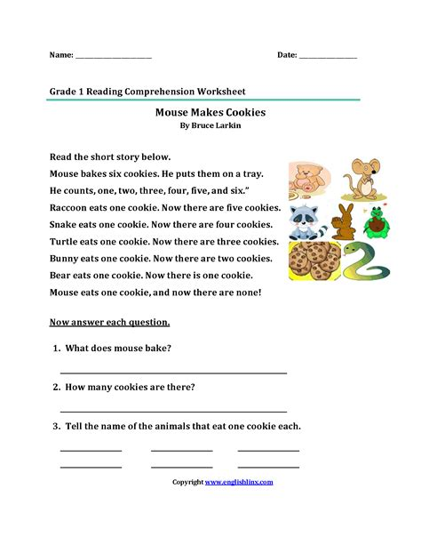 Free Grade Reading Worksheets