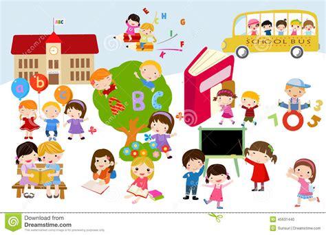 bambini clipart bambini e scuola illustrazione vettoriale illustrazione