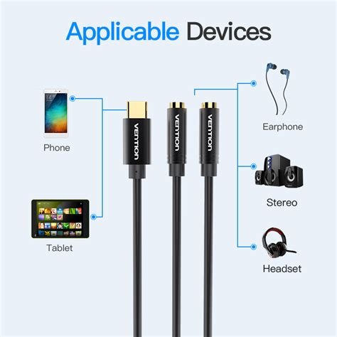 Kabel Aux Audio Splitter 35mm To 2 Vention B08 Blue vention type c naar dual 3 5 mm aux audio kabel splitter adapter voor hoofdtelefoon luidspreker