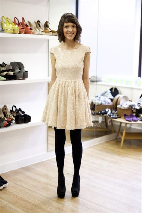 black white dress with tights black opaque tights with a blush dress