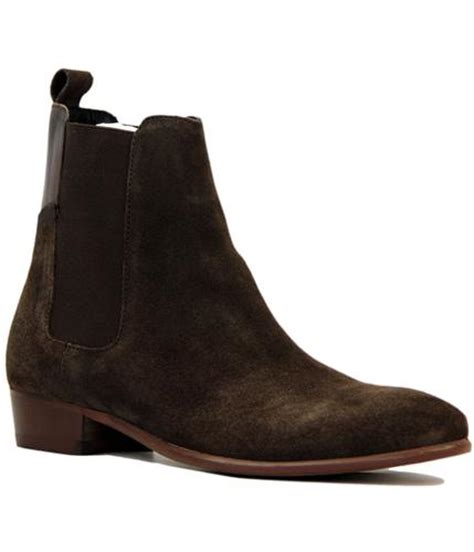 h by hudson watts 60s mod cuban heel suede chelsea boots