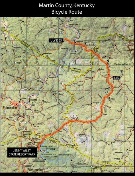 kentucky bike map martin county kentucky bicycle routes