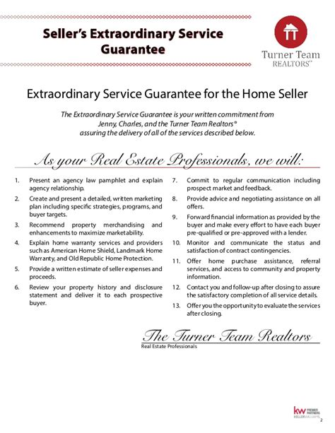 first american home warranty premier plan turner team inc washington seller s real estate guide