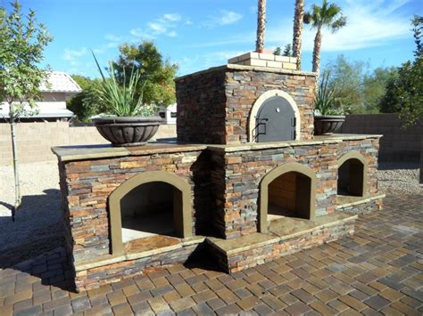 outdoor fireplace and pizza oven combination plans pizza oven fireplace combo completed desert