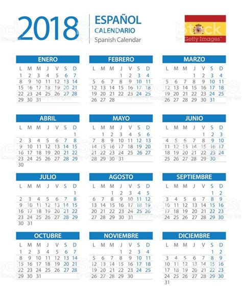 Calendar 2018 Spain Calendar 2018 Vertical Blue Version Stock Vector