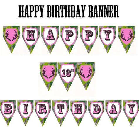 printable camo birthday banner pink camo happy birthday customizable banner by