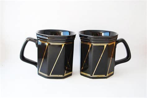 gold coffee mug vintage coffee mugs set of 2 black and gold coffee mug
