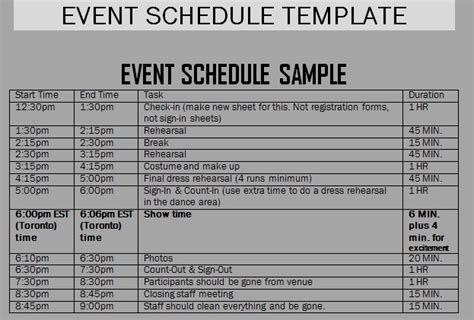 event schedule template get event schedule template projectmanagementwatch