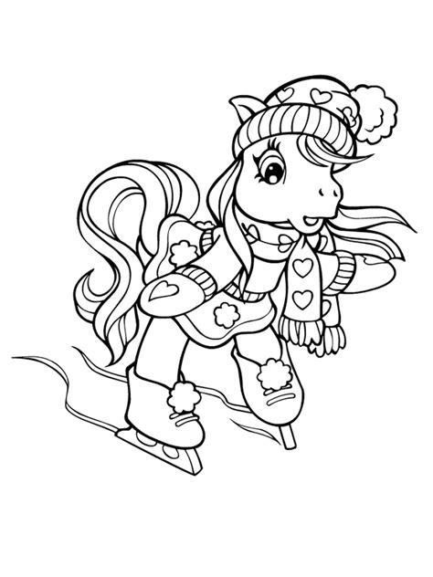 Coloriage a imprimer petit poney fait du patin a glace