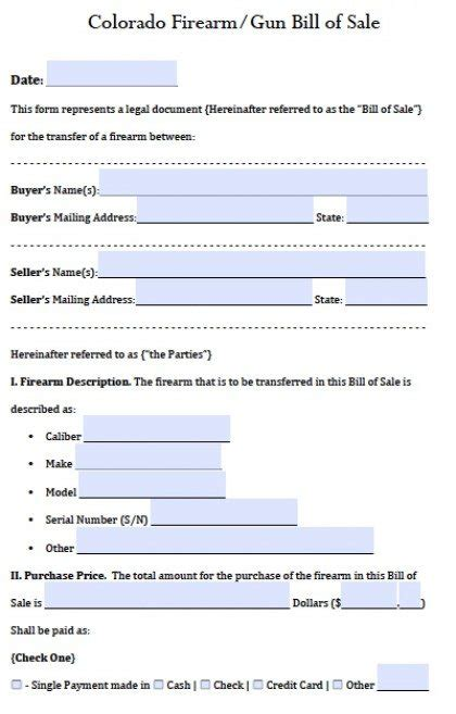 Free Colorado Gun Firearm Bill Of Sale Form Pdf Word Doc Bill Of Sale Colorado Template