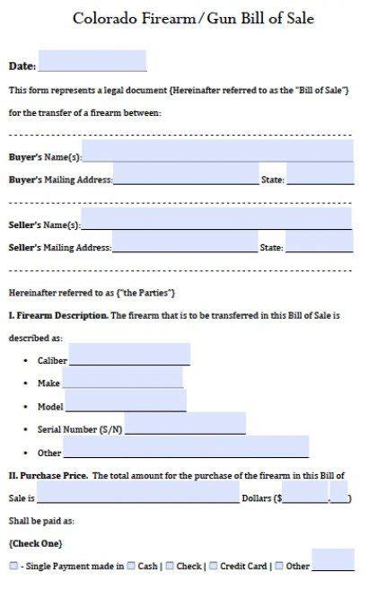 bill of sale template colorado free colorado gun firearm bill of sale form pdf word