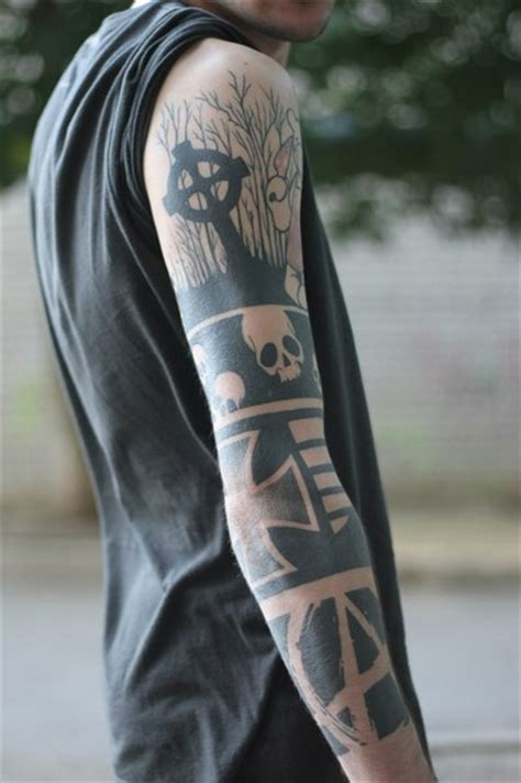 anarchist tattoo grave skull and anarchy blackwork sleeve best