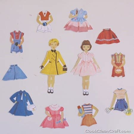 Paper Dolls Craft - magnetic paper dolls tutorial cook clean craft