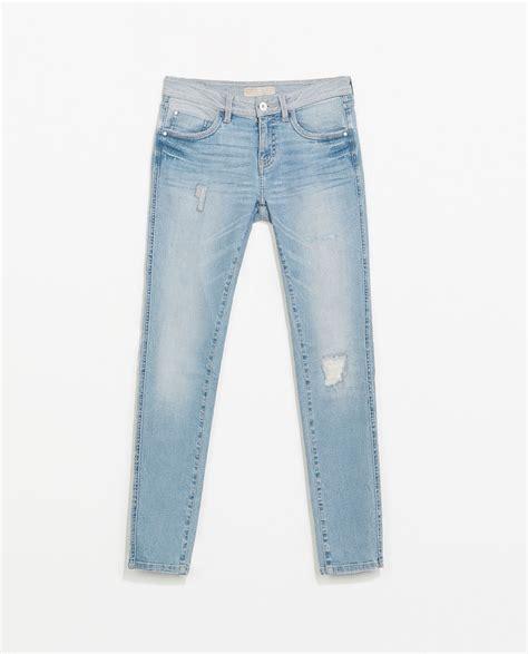light blue ripped skinny jeans zara ripped skinny jeans in blue light blue lyst