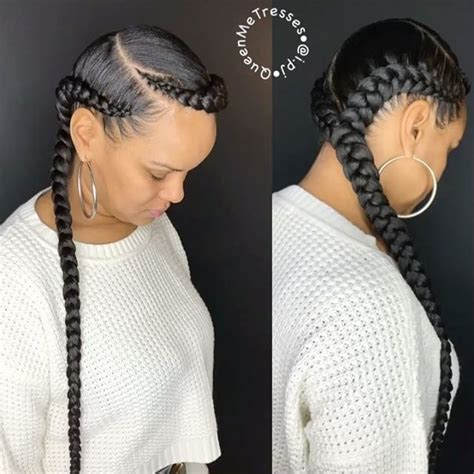 two cornrow braided hairstyle 35 absolutely beautiful feed in braid hairstyles