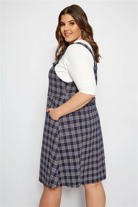 limited out 3 days in row limited collection navy check pinafore dress