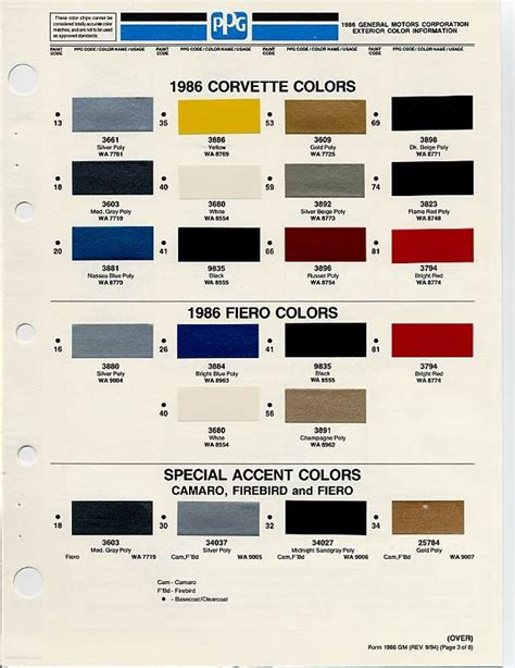 gm color chips auto paint colors codes