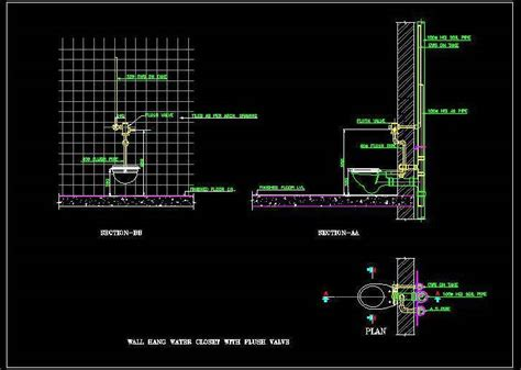 Inspired Kitchen Design by Wall Hung Wc With Flush Valve Detail Plan N Design