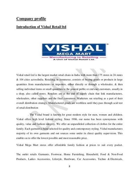 Retail Business Introduction Letter project report on retail management