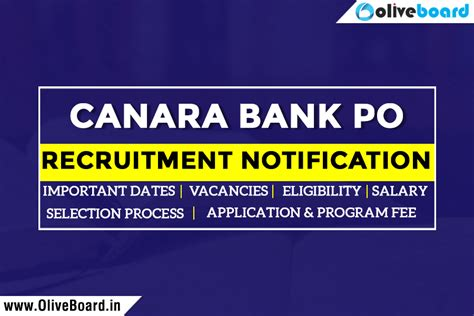 Mba After Bank Po Experience by Canara Bank Po Notification Dates Vacancies