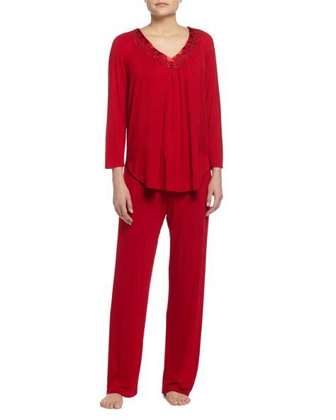 knit pajama sets oscar de la renta luxe jersey knit pajama set in lyst