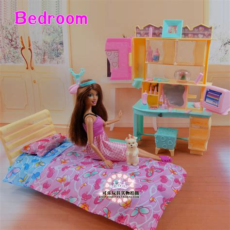 2014 new doll furniture accessories for barbie sofa new design doll bed cabinet set dollhouse bedroom
