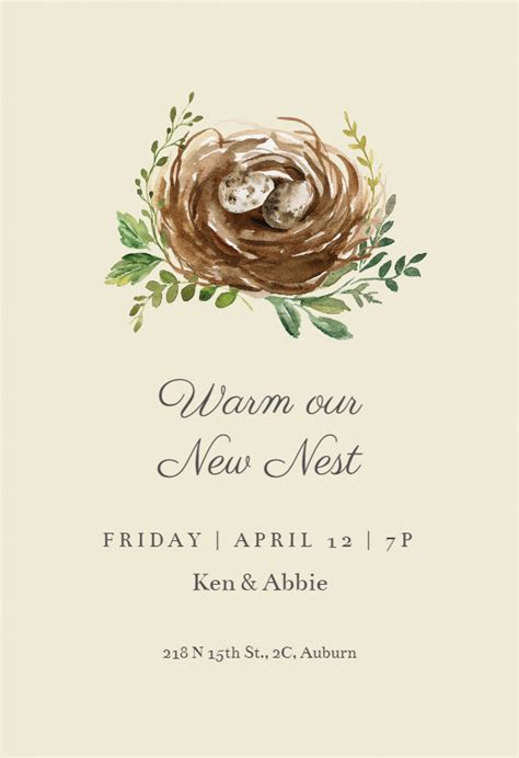 birds nest housewarming invitation template   island