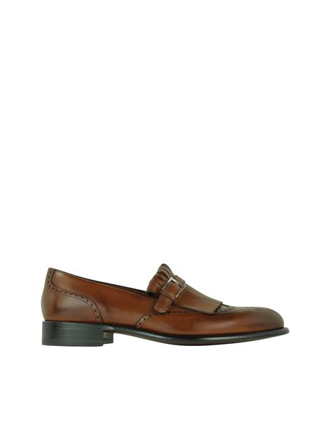 Azcost Wingtip a testoni brown wingtip leather loafer in brown for lyst