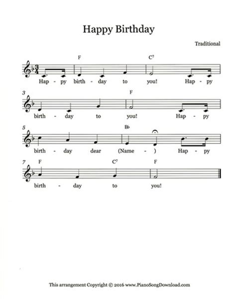 happy birthday violin mp3 download happy birthday free lead sheet to print from piano song