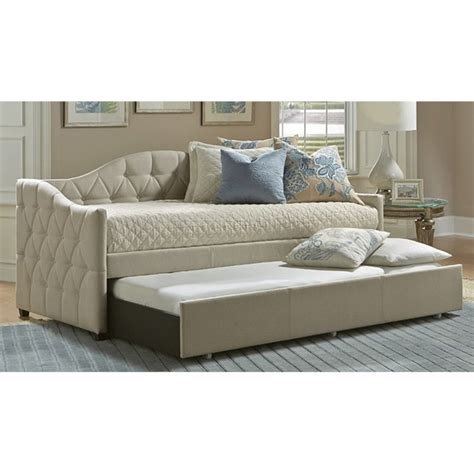 Upholstered Daybed With Trundle Atlin Designs Upholstered Daybed With Trundle In Beige Ad 1425980