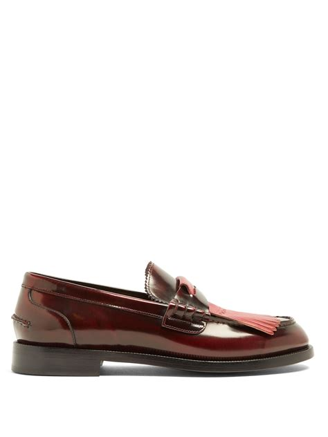 burberry mens loafers lyst burberry contrast fringed leather loafers in