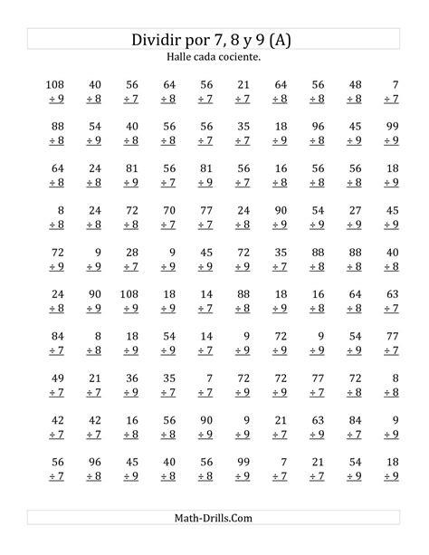 hojas de ejercicios de divisiones para imprimir la hoja de ejercicios de divisiones b 225 sicas por 7 8 y 9