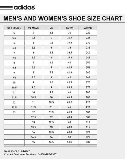 tablero de talles  calzado adidas adidas tienda