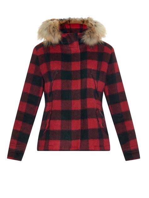 lyst woolrich plaid lumberjack wool jacket  red