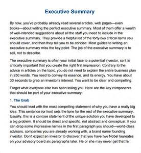 Executive Summary Template Word by Sle Executive Summary Template 12 Documents In Pdf
