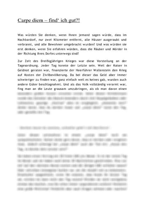 Carpe Diem Essay carpe diem barock essay aufsatz