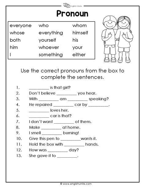 Free Pronoun Worksheets by Pronouns Worksheet 3 Unite Unite