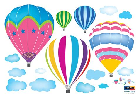 Wall Stickers Clouds amazon com ryuan colorful hot air balloon in the sky