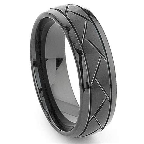 black tungsten carbide 8mm cut dome wedding band ring