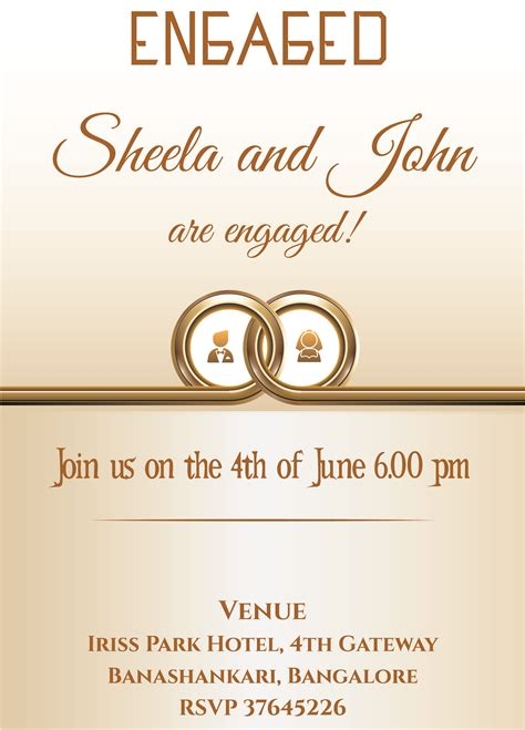 ring ceremony invitation card template free free ring themed engagement invitation card with wordings