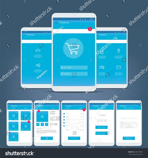 app design navigation flat design user interface smart phone stock vector
