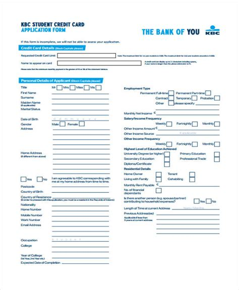 Sle Credit Card Application Form For Students 41 Student Application Forms In Pdf