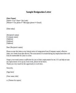 Resignation Letter Exles Two Week Notice by Sle Resignation Letter With 2 Week Notice 6 Exles In Word Pdf