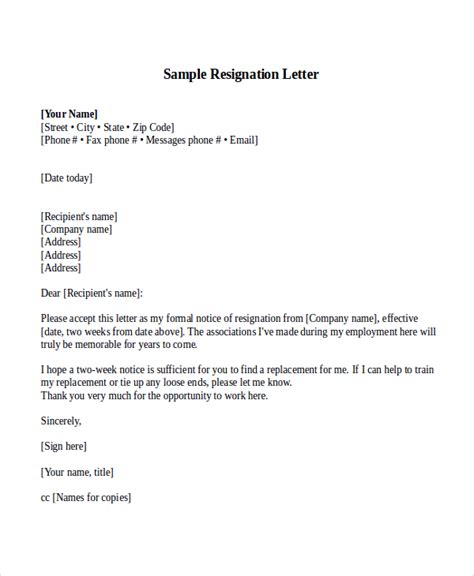 Resignation Letter 2 Weeks Notice Sle Resignation Letter With 2 Week Notice 6 Exles In Word Pdf