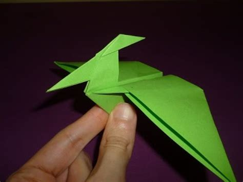 How To Make A Paper Flying Dinosaur - origami dinosaur pterodactyl how to make