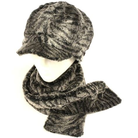 Hq 14529 Scarf Set Top Grey cold weather sets buy faux fur newsboy hat softer than mink scarf set gray big discount