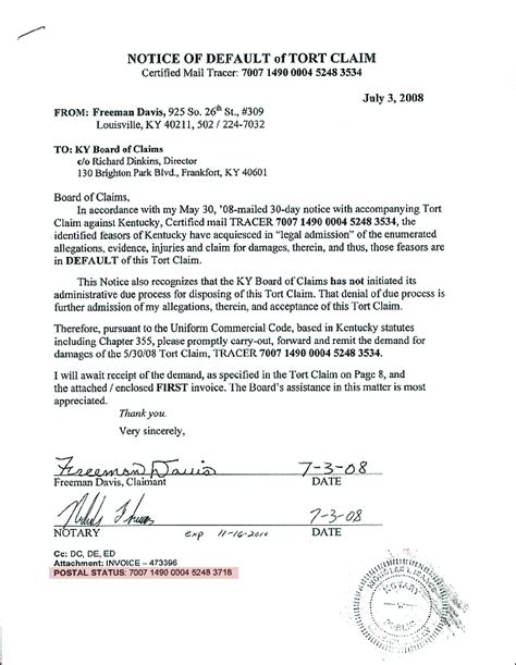 Demand Letter Notice Of Default System Of Contracts Threatened Letter To Obama Freeman